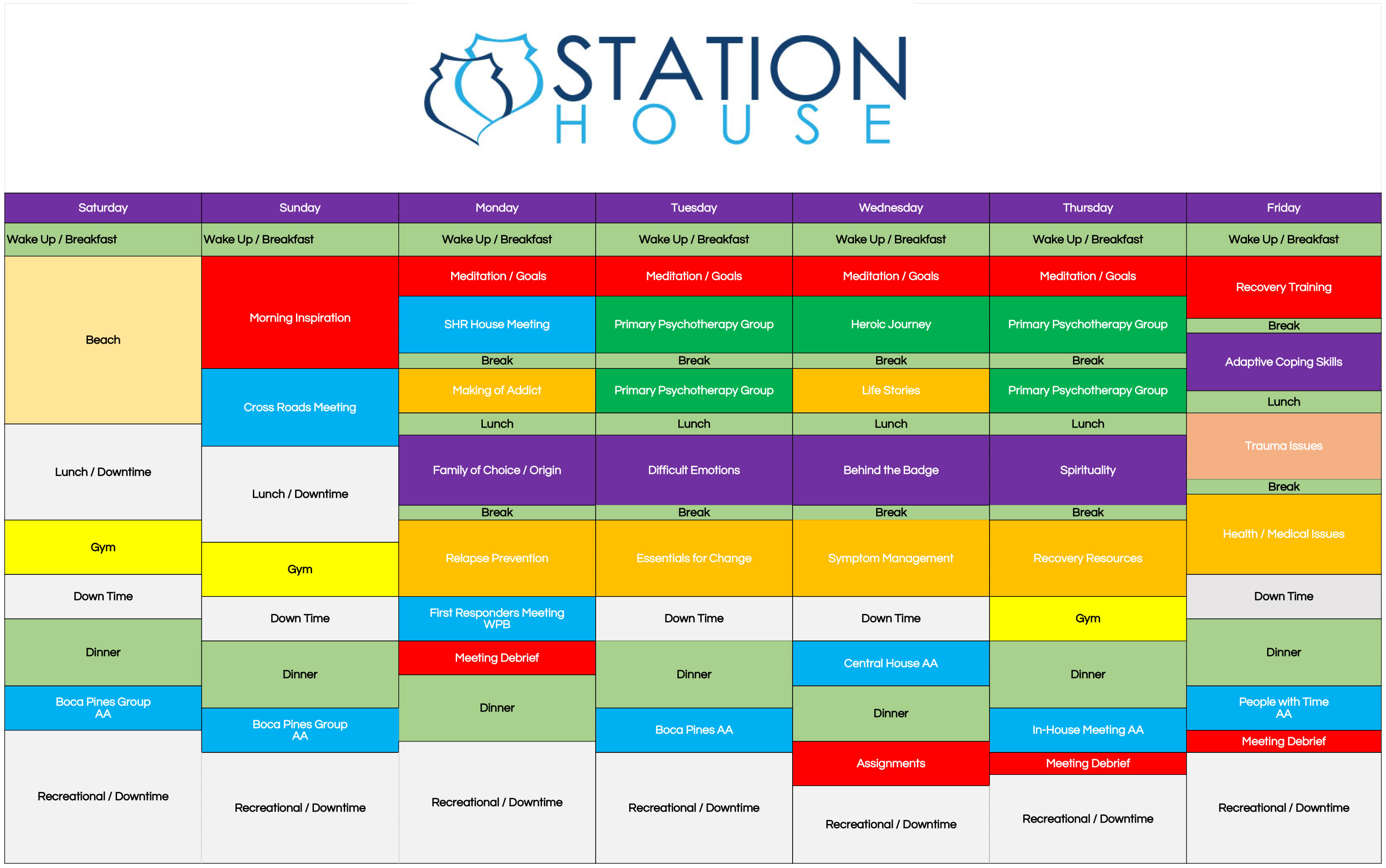 Sample Schedule Station House – Sample Schedule